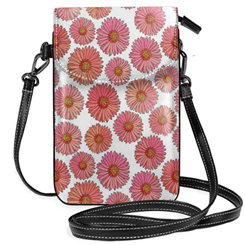 - Women Small Cell Phone Purse Crossbody,Pink Blooms Flower Field Essence Fragrance Mother Nature Tropical Flourish