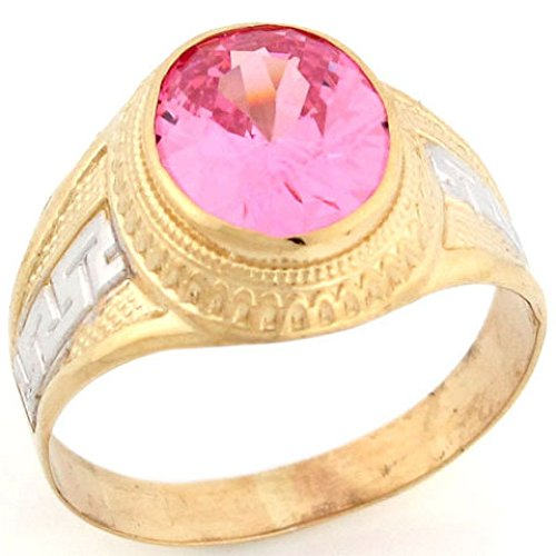 - Jewelry Liquidation 10k Two Tone Solid Gold Oval Pink CZ Simulated October Birthstone Greek Design Mens Ring