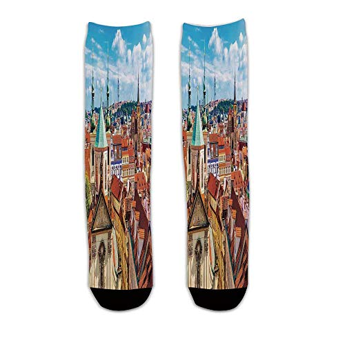 YOLIYANA Cityscape Stylish Knee Length Socks,Scenic Summer View of The Old Town Prague with Sky Europe Heritage Art Deco for Men - Chair Art Deco Set