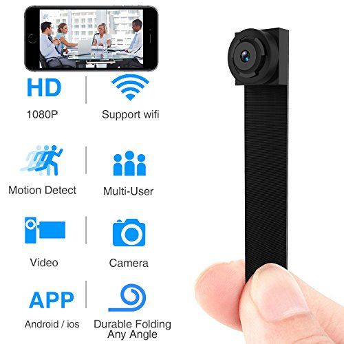 (Spy Hidden Camera, Wireless Wi-Fi Camera 1080P APP Mini Portable Covert Security Cam Motion Detection for iOS/Android Mobile Phone (2019 Version) (Mini) )