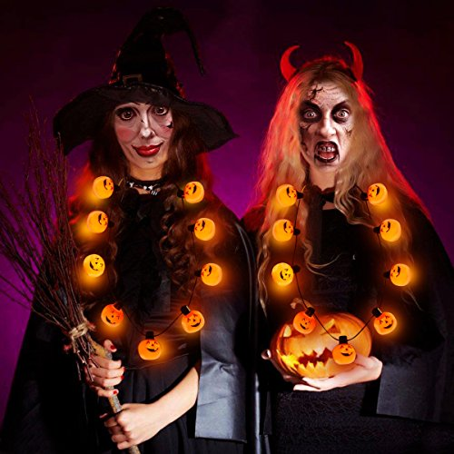 YUNLIGHTS LED Halloween Light up Pumpkin Necklace with 6 Lighting Modes 35-Inch Party Favors, 2 Pack (This Is Halloween Pumpkins)