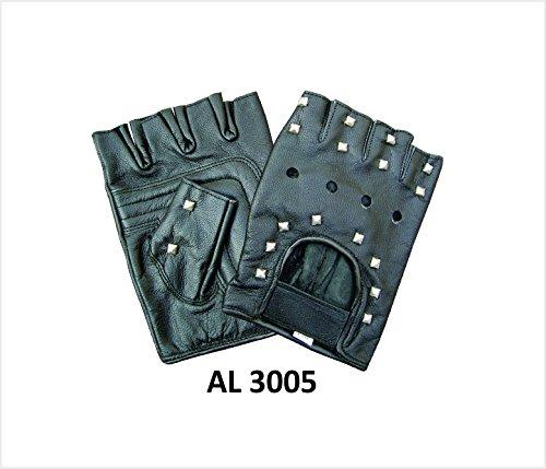 Premium Cowhide Leather Fingerless Gloves W/Stud