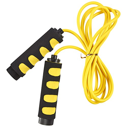 Jump Rope - Skipping Rope for Kids, Men, and Women - Weight-Loss Fitness Lightweight and Adjustable Speed Rope with Anti-Slip Foam Grip Handles, Yellow