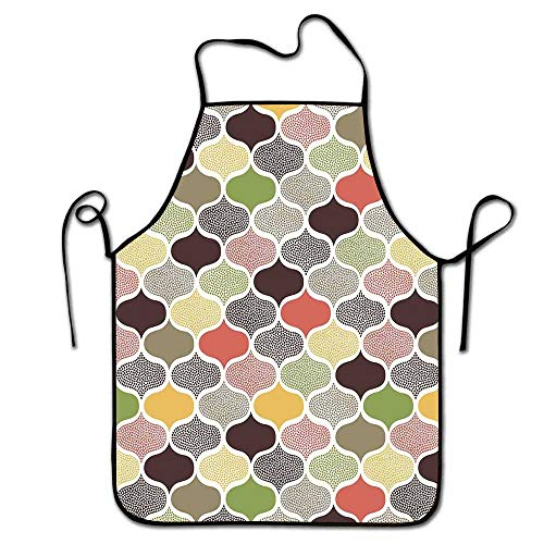 Winnee Modern Apron for Hairdressers Seamless Oriental Geometric Morrocan Doodle Pattern with Dots and Blank Colors Art Apron Sleepy Multicolor