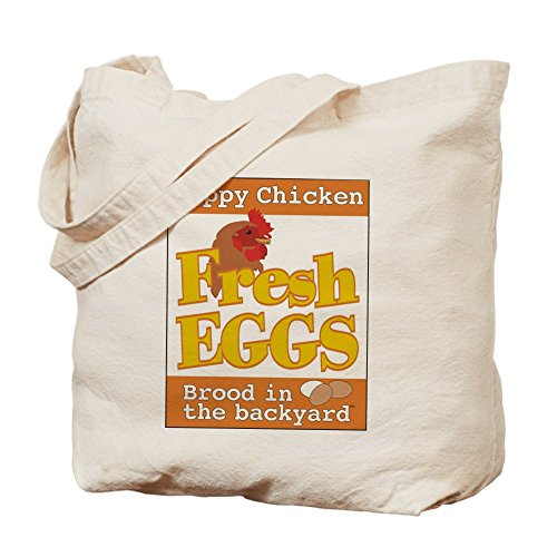 CafePress - Happy Chicken Fresh Eggs Tote Bag - Natural Canvas Tote Bag, Cloth Shopping Bag (Chicken Egg Bag)