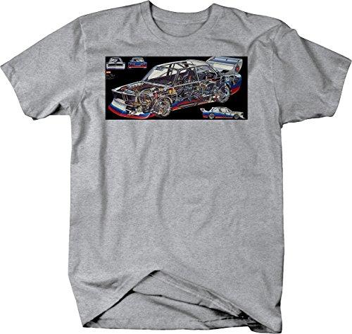 BMW 2002 3 Series German Sportscar Racing M Tshirt - Large Heather Grey (Bmw 3 Series Engine Oil Top Up)