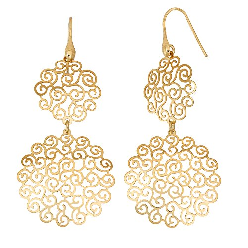 14K Yellow Gold or Rhodium Plated 925 Sterling Silver Cut Out Spiral Round Dangle Earrings 14k Yellow Gold Spiral Drop