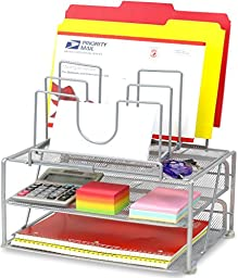 DecoBros Mesh Desk Organizer with Double Tray and 5 Stacking Sorter Sections, Sliver