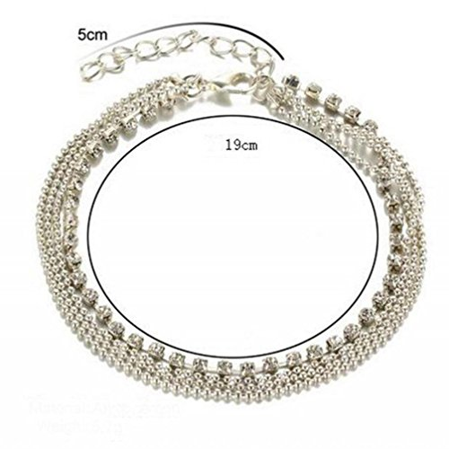 Price comparison product image Aniywn Multi Layer Silver Crystal Drill Ball Bracelet Anklet Ankle Foot Chain Jewelry (Free Size,  Silver)