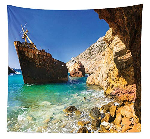 Lohebhuic Shipwreck Tapestry Twin Size Old Ship Wreck by Cyclades Island in Greece Pebbles Olympia Mediterranean Worn Wall Hanging Bedspread Bed Cover Wall Decor,92.43
