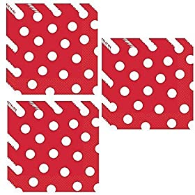 Red Polka Dot Luncheon Napkins – 48 Pieces by Unique