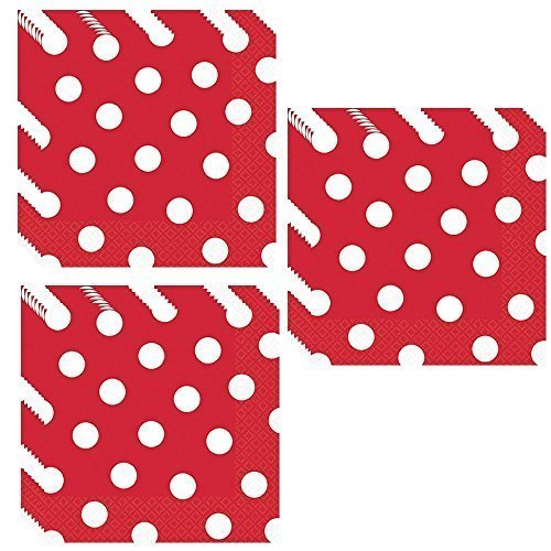 Red Polka Dot Luncheon Napkins - 48 Pieces by Unique -