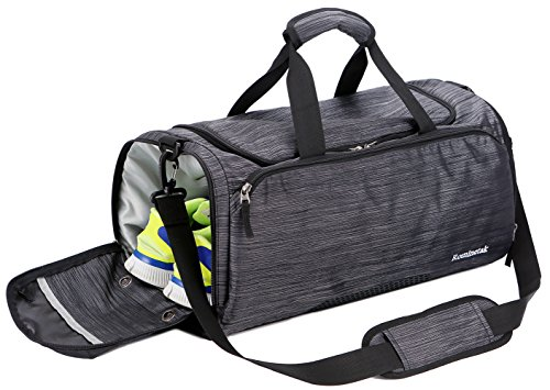 Rominetak Gym Bag Sports Travel Duffel Bag for Men and Women with Shoes Compartment (One Size, Black/Stripe)
