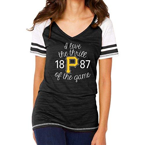 MLB Pittsburgh Pirates Women's Color Block Tee, Small, Black