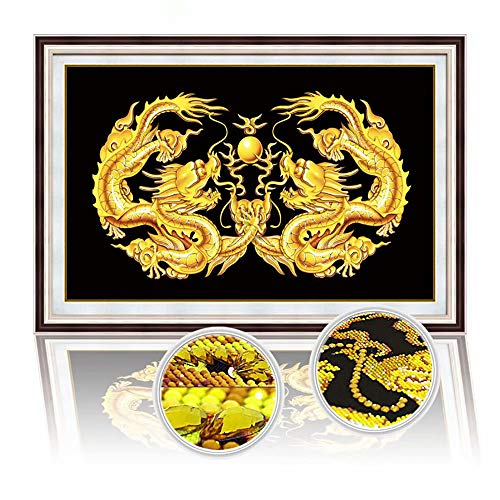 - Handser DIY Special Shaped Drill 5D Diamond Painting Gold Embroidery Kits Living Room Office Double Dragon Play Beads Cross Stitch Needle Gift 7848cm