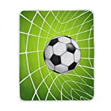 ALIREA Football Soccer In Net Super Soft Warm Blanket Lightweight Throw Blankets for Bed Couch Sofa Travelling Camping 60 x 50 Inch for Kids Boys Girls