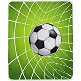 ALIREA Football Soccer In Net Super Soft Warm Blanket Lightweight Throw Blankets for Bed Couch Sofa