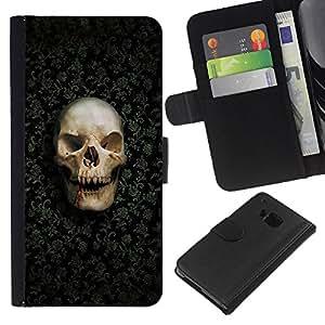 All Phone Most Case / Oferta Especial Cáscara Funda de cuero Monedero Cubierta de proteccion Caso / Wallet Case for HTC One M9 // Funny Goth Evil Skull