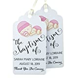 Summer-Ray 50pcs Personalized White Royale Baptism Party Favors Gift Tags with Baby Girl Print