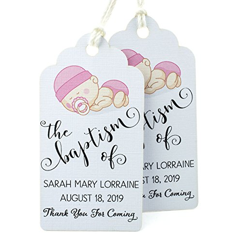Summer-Ray 50pcs Personalized White Royale Baptism Party Favors Gift Tags with Baby Girl Print by Summer-Ray.com