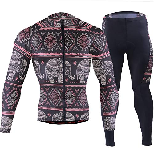 Indian Lotus Elephant African Men's Cycling Jersey Set Breathable Quick-Dry MTB Road Bike Luxury Black