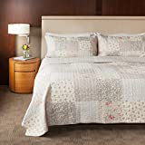 king handmade quilts - SLPR Walk in the Cotswolds 3-Piece Real Patchwork Cotton Quilt Set (Queen) | with 2 Shams Pre-Washed Reversible Machine Washable Lightweight Bedspread Coverlet