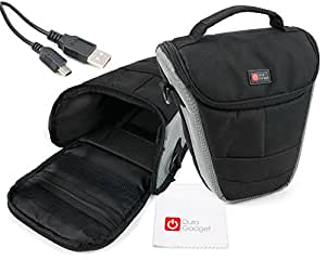 DURAGADGET holster / telescopic style / Top-loader case / bag / for digital SLR camera Compatible with Nikon Coolpix D200 / D300 / D80 / D40x / D40 / P80 / D700 / P80 / D90 / D60 / D5000 / P90 / D3000 / D300s / P90 / P80 / D3S /P80 / D60 / D90 / D3x / D40 / D60 / D 80 / Nikonos V / F 75 f75 / F6 / F 80 QD Silver / Nikon Coolpix P7000, P100, Nikon SLR D7000, D3100