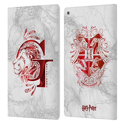 Official Harry Potter Gryffindor Aguamenti Deathly Hallows IX Leather Book Wallet Case Cover Compatible For Amazon Fire…