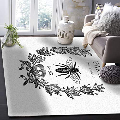 OUR WINGS Modern Area Rug,Rue Lafayette bee No 33 5 Feet by 8 Feet Indoor Area Rugs Living Room Carpets for Home Decor Bedroom Nursery Rugs ()