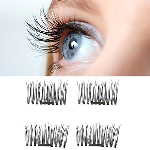 OVERMAL News 4pcs Ultra-thin 0.05mm Magnetic Eye Lashes 3D Reusable False Magnet Eyelashes (Black)