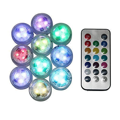 DarNio 10PCS Waterproof Submersible LED Party Tea Mini Light for Halloween Christmas Work with Remote Controller
