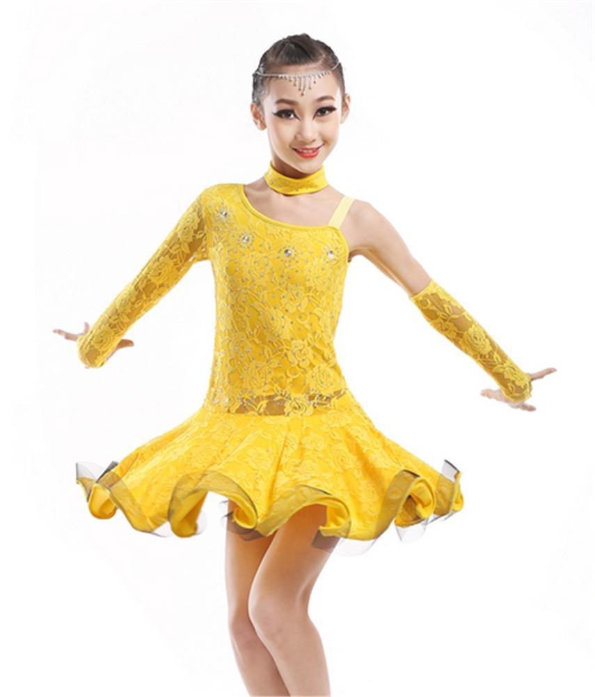 Jaune peiwen Ensemble de Danse Professionnelle Latine pour Enfants scène de Danse Spectacle de Danse 130cm