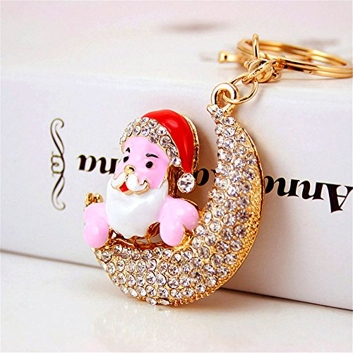 Jzone Keychain for Women Purse Charms for Handbags Crystal Santa Claus Father Christmas on The Moon Pendant with Key Ring Elderly Key Chain Rhinestone