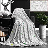 Nalagoo Unique Custom Flannel Blankets White Stucco Design Of Native Thai Style On The Wall Super Soft Blanketry for Bed Couch, Throw Blanket 70'' x 50''