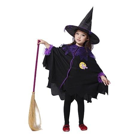 Tongchou Disfraz De Bruja Para Ninas Carnaval Fiesta Halloween Negro - Disfraz-de-bruja-para-bebe
