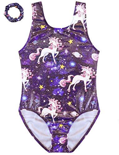 Happy Cherry Girls Ballet Dress Sleeveless Gymnastics Dance Leotard Shiny Soft Elastic Jersey Full Body Yoga Ballet Suit Gradient Purple 5-14 Years