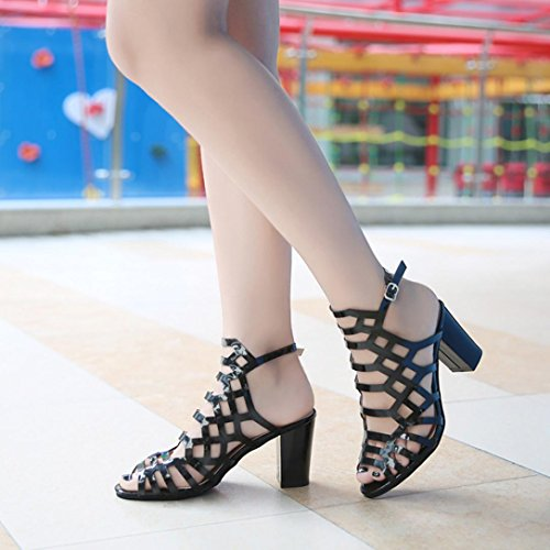 Ouneed Mujeres verano Sexy sandalias gladiador Peep Toe zapatos negro Negro