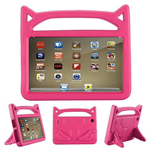 All-New F i r e HD 8 Kids Case - Riaour Light Weight Shock Proof Handle Friendly Stand Kid-Proof Case for All New A m a z o n F i r e 8 inch Display Tablet Cover(2016&2017 Release) (Rose)