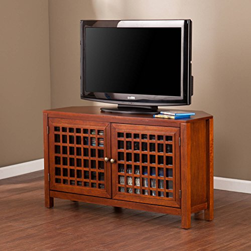 Wooden Corner Tv Stand Entertainment Center, Adjustable Shelves, Enclosed Space, Practical, Storage Solution, Perfect For Living Room, Bedroom, Family Room, Walnut Color + Expert - Stand Home Credenza Theater