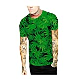 batgirl cowl mask - Elakaka Green Leaves Digital printing Men 's T - shirt(Size,M)