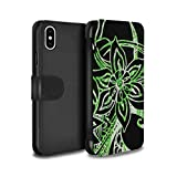 STUFF4 PU Leather Wallet Flip Case/Cover for Apple iPhone X/10 / Green/White Design / Henna Paisley Flower Collection