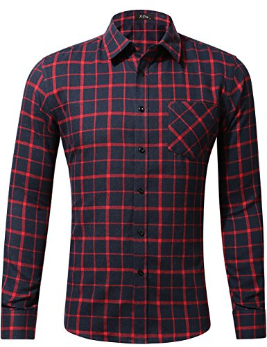XI PENG Men's Dress Long Sleeve Flannel Shirt Thermal Plaid Checkered Jacket (Navy Blue Red, (Navy Red Plaid Dress)