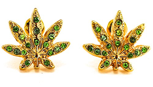 Earrings Cannabis Weed Marijuana Leaf Iced Out Gold/Green Color - Marijuana Gold