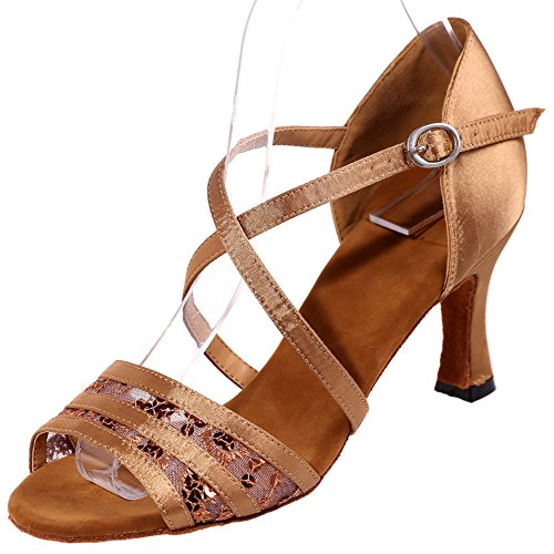 Loslandifen Donna Open Toe Criss Cross Strap Fibbia Scarpe Da Ballo Traspirante Salsa Tango Sandali Latini Marrone-a