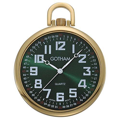 Watch Tone Pocket Gold Quartz - Gotham Men's Gold-Tone Slim Railroad 24 Hour Open Face Quartz Pocket Watch # GWC15027GG