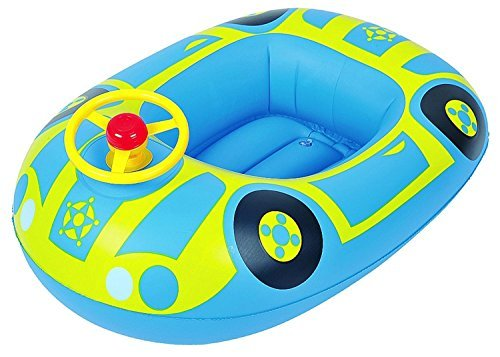 27 Blue and Yellow Children's Car Swimming Pool Inflatable Baby Boat Float by Pool Central