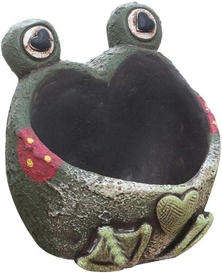 Lpinvin HO Decoración de jardín Mini macetas suculentas Planta Vintage En Maceta Tallado a Mano Florero pequeño Estilo de Rana Decoraciones de jardín al Aire Libre: Amazon.es: Hogar