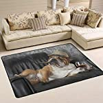 alaza English Bulldog with Cigar and Glass Area Rug Rugs for Living Room Bedroom 3'x2' 8