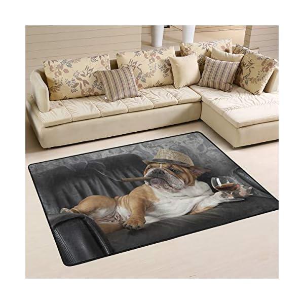 alaza English Bulldog with Cigar and Glass Area Rug Rugs for Living Room Bedroom 3'x2' 1