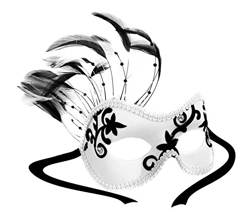 Florette White and Black Applique Feathered Women's Masquerade Ball Mask (Feathered Masquerade Mask)
